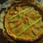 Torta salata porri e salmone
