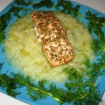 Salmone con crema e semi di finocchio
