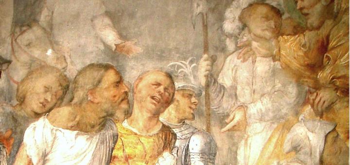 Daniele e i suoi compagni in affresco del Romanino in Sant'Antonio Abate, Breno.