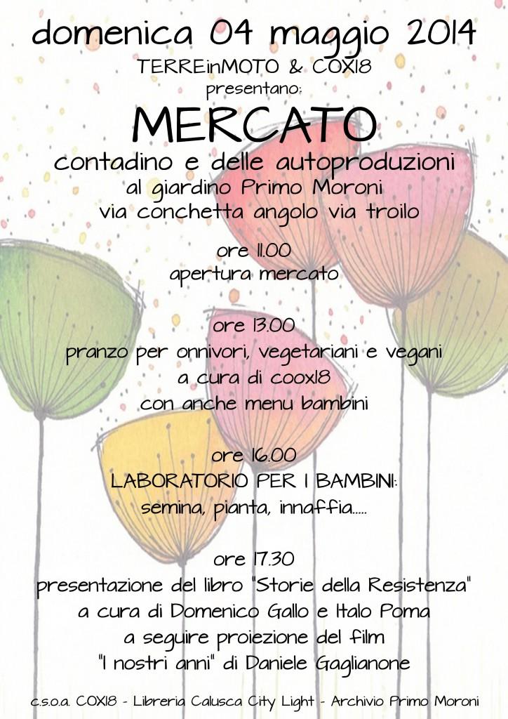 locandina-Mercato dei prodotti biologici e delle autoproduzioni al giardino Primo Moroni in via Conchetta