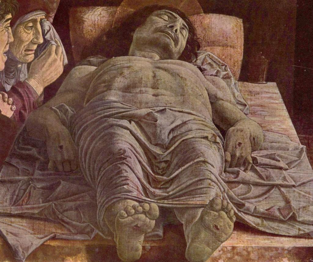 Andrea Mantegna, Cristo morto, tempera su tela. H 68 cm × L 81 cm. Alla pinacoteca di Brera di Milano.