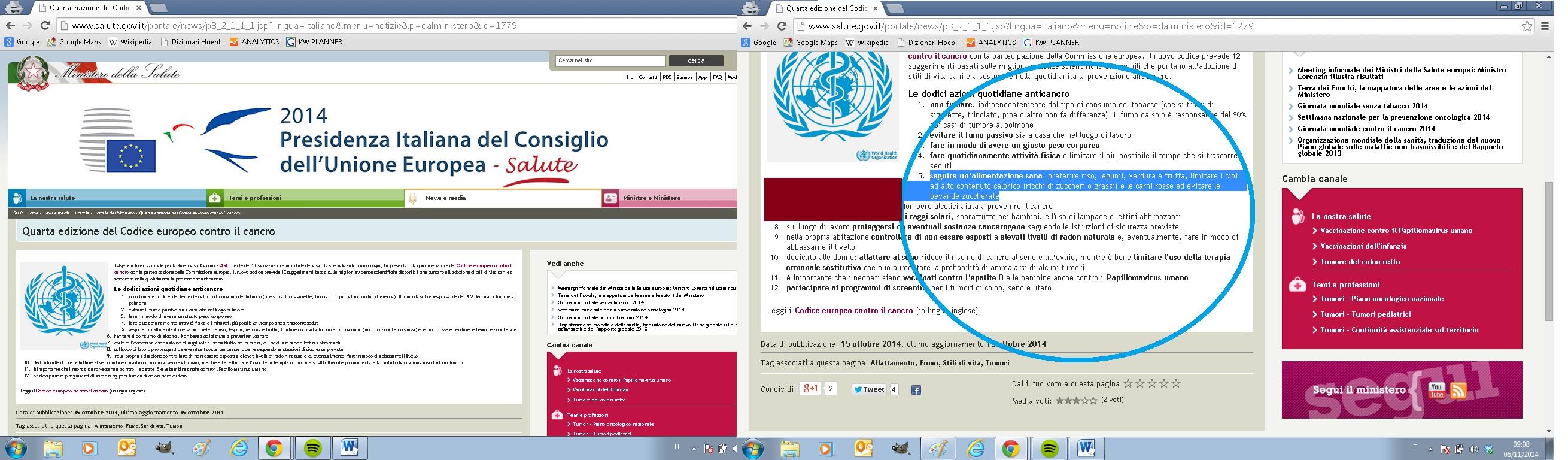 Codice europeo anticancro tradotto dal ministero italiano della Salute
