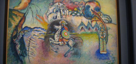 Vasilij Kandinskij, Il cavaliere (San Giorgio), 1914-15 - Olio su cartoncino, cm 61 x 91, Mosca, Galleria Tret'jakov © State Tretyakov Gallery, Moscow, Russia