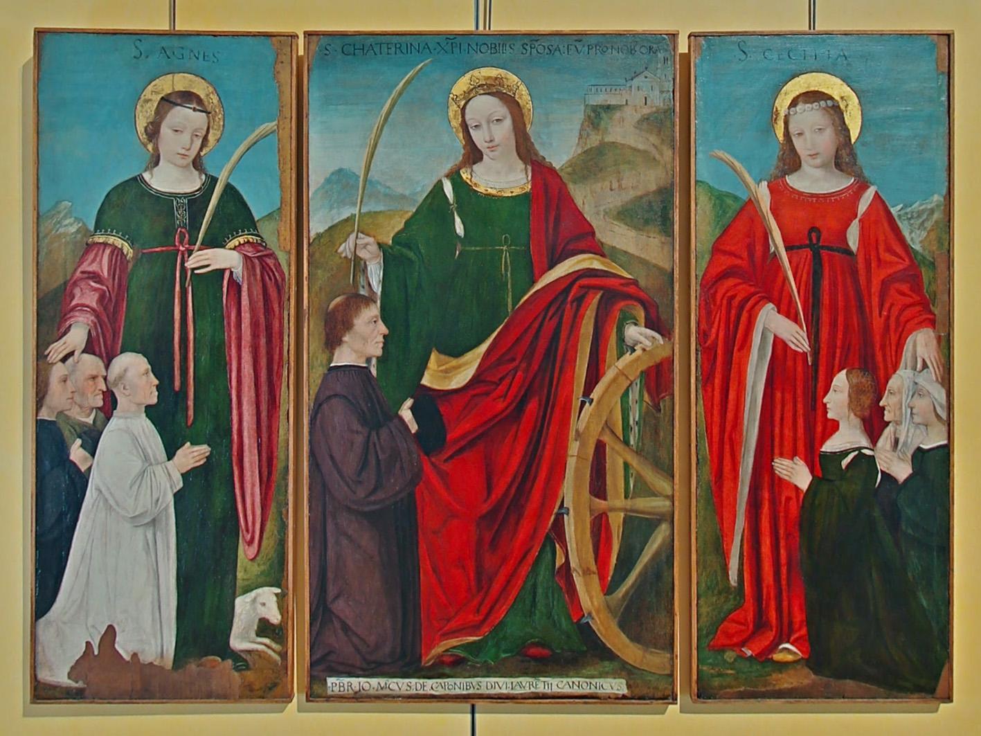 Bergognone, Trittico con con santa Agnese, Caterina d'Alessandria e Cecilia